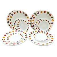 Corelle-Hot Dot Dinner Plates / Hot Dot Quarter Plates-Set Of 6