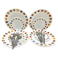 Corelle-Hot Dot Dinner/Quarter-Set Of 4 Fork/Spoon/Plates