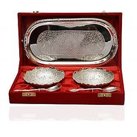 Silver Plated 2 Bowl Set With Spoons