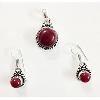 Designer Earrings Pendant Set Silver Plated Red Onyx With Free Chain