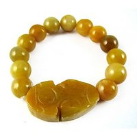 """Pi Yao With YELLOW JASPER Bracelet For Protection, Prosperity And Luck (12MM)"