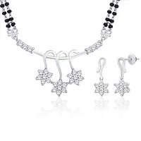 Peora Rhodium Plated Mangalsutra Set With Swiss Cubic Zirconia (Design 5)