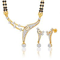 Peora 18 Karat Gold Plated Mangalsutra Earrings Set Pm(Design 3)