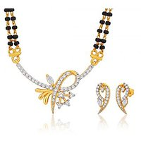 Peora 18 Karat Gold Plated Mangalsutra Earrings Set (Design 21)