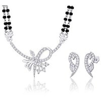 Peora Rhodium Plated Mangalsutra Set With Swiss Cubic Zirconia (Design 4)