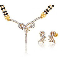 Peora 18 Karat Gold Plated Mangalsutra Earrings Set Pm(Design 2)