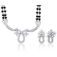 Peora Rhodium Plated Mangalsutra Earrings Set (Design 3)