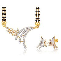 Peora 18 Karat Gold Plated Mangalsutra Earrings Set Pm