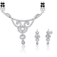 Peora Rhodium Plated Mangalsutra Earrings Set (Design 2)
