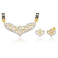 Peora 18 Karat Gold Plated Mangalsutra Earrings Set (Design 9)