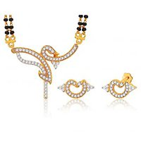 Peora 18 Karat Gold Plated Mangalsutra Earrings Set (Design 15)