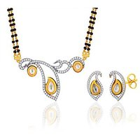 Peora 18 Karat Gold Plated Mangalsutra Earrings Set (Design 7)