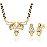 Peora 18 Karat Gold Plated Mangalsutra Earrings Set (Design 10)