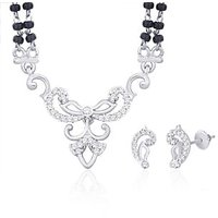Peora Rhodium Plated Mangalsutra Set With Swiss Cubic Zirconia (Design 2)