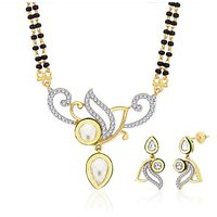 Peora 18 Karat Gold And Rhodium Plated Mangalsutra Set With Swiss Cubic Zirconia (Design 2)