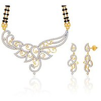 Peora 18 Karat Gold And Rhodium Plated Mangalsutra Set With Swiss Cubic Zirconia (Design 8)