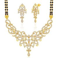 Peora 18 Karat Gold And Rhodium Plated Mangalsutra Set With Swiss Cubic Zirconia (Design 7)