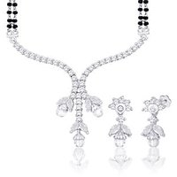 Peora Rhodium Plated Mangalsutra Set With Swiss Cubic Zirconia (Design 8)