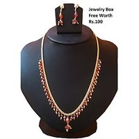 Beautiful Beaded Necklace Set Red And Golden
