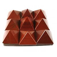 """RED JASPER SET OF 9 SMALL PYRAMIDS(4.5X4.5CM) ON A GLASS PLATE ( CRYSTAL HEALIN"