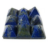"""LAPIS LAZULI SET OF 9 SMALL PYRAMIDS ON A GLASS PLATE(4.5X4.5CM) , HEALING CRYS"