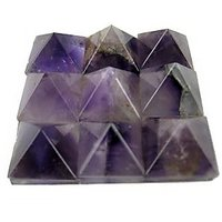 """AMETHYST SET OF 9 SMALL PYRAMIDS ON A GLASS PLATE(4.5X4.5CM) , HEALING CRYSTAL"