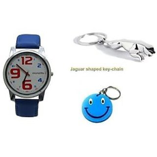 Combo Of Morelife Unisex Watch Blue+Jaguar Key Chain With Free Smiley Key Chain.