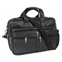 DnS LAPTOP OFFICE BAG BLACK LEATHERITE  WITH 2 MAIN COMPARTMENTS B038