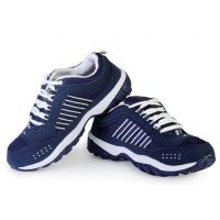 Binqo Sports Cool Air Deep Blue And White Running Shoes