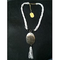 Twisted Kidiya Moti And Mother Of Pearl Pendant Indian Necklace