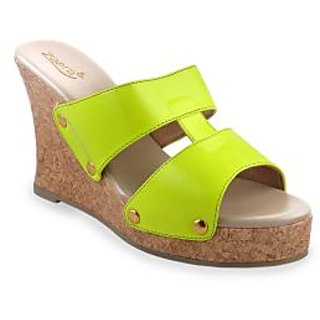 Ladies Wedges / Sandals / Heels / High Heel Wedge - ZDF0117 - LIME - Zaera
