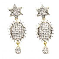 Two Tone Earring In American Diamond RM155
