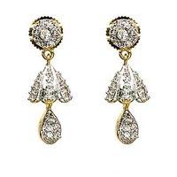 Two Tone Jhumkas In American Diamond