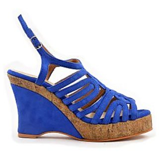 Ladies Peep Toe  Sandals - High Heels / Wedges - ZDF0082 - BLUE - Zaera