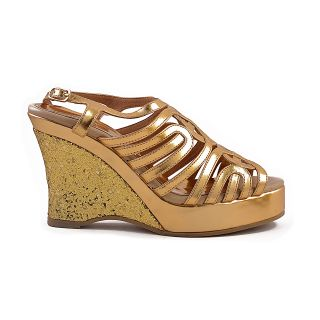Ladies Peep Toe Sandals - High Heels / Wedges - ZDF0082 - GOLD - Zaera