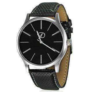 Analog Black Leather Formal Watch - Men