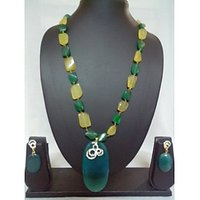 Handmade Designer Necklace In AD And Semiprecious Fusion With Earrings