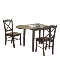 Afydecor Drop Leaf Styled Dining Set With Two Chairs In Brown