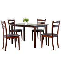 Afydecor Dining Set With Block Wooden Table Legs In Brown