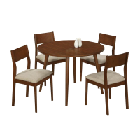 Afydecor Dining Table With Round Top In Brown