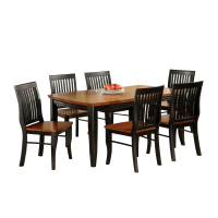 Afydecor Dining Set With Slatted Design In Black