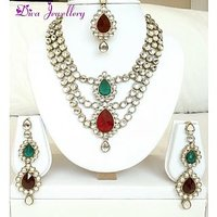 Diva Kundan 3 Link Red Green Indian Bollywood Necklace Earrings Tika Set For Women