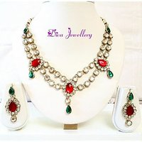 Diva Kundan 2 Link Red Green Indian Bollywood Necklace Earrings Tika Set For Women