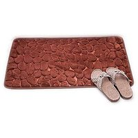 BathMat Memory Foam Emboss Brown