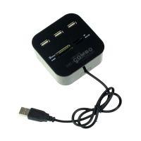 3 Port HUB+USB 2.0 Memory Card Reader Combo For PC Laptop