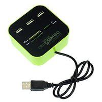3 Port HUB+USB 2.0 Memory Card Reader Combo For PC Laptop - 74094024