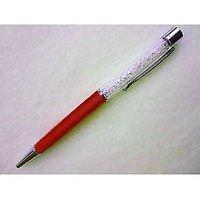 P-17 White Crystal Oem Lady Laser Engraved Red Ballpoint Pen