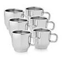 6 Pcs Tip Top Tea Mug Set In Stainless Steel