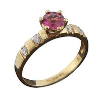 18 Kt Yellow Gold Color Stone Diamond Ring