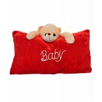Baby Pillow Cum Soft Toy For Kids, Decorative Cushion (Red)